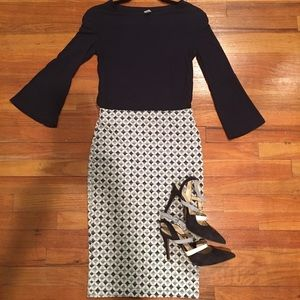Zara Navy And Blue Printed Pencil Skirt With Slit